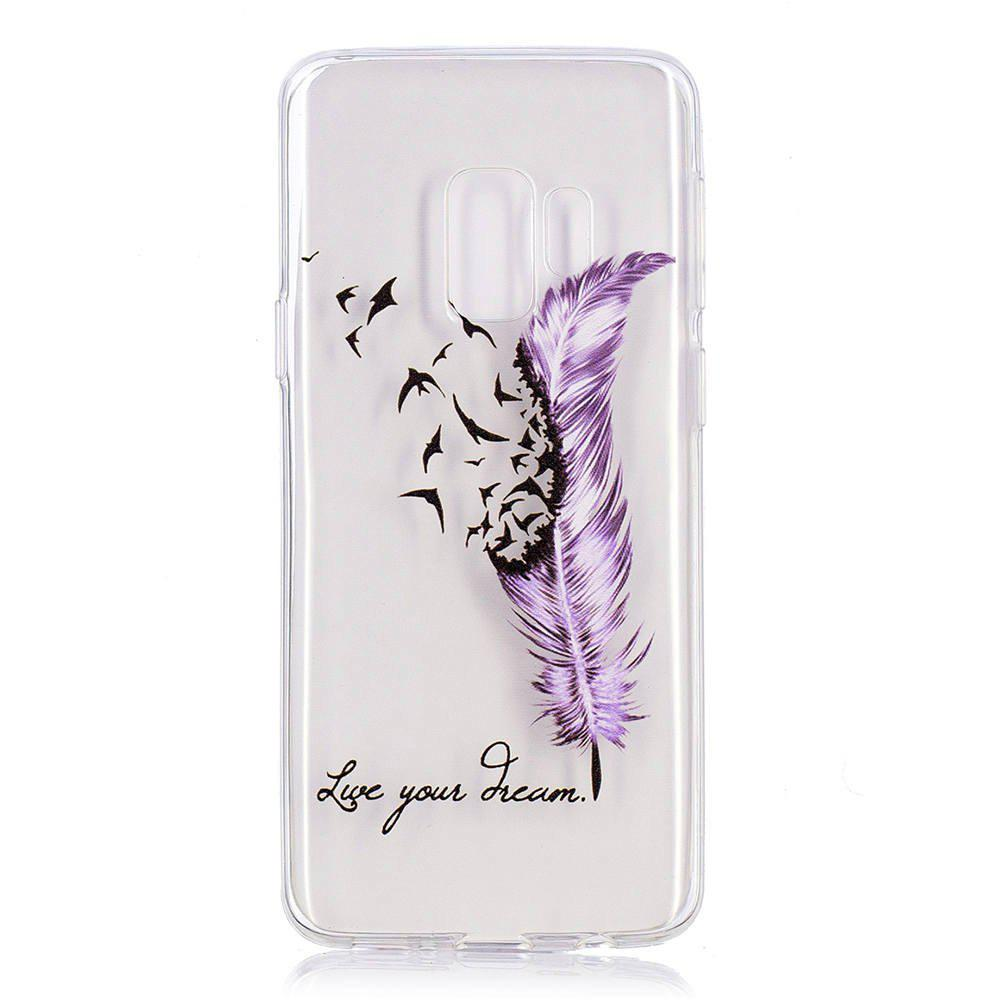 Cheap TPU Material Feather Pattern Painted Phone Case for Samsung Galaxy S9