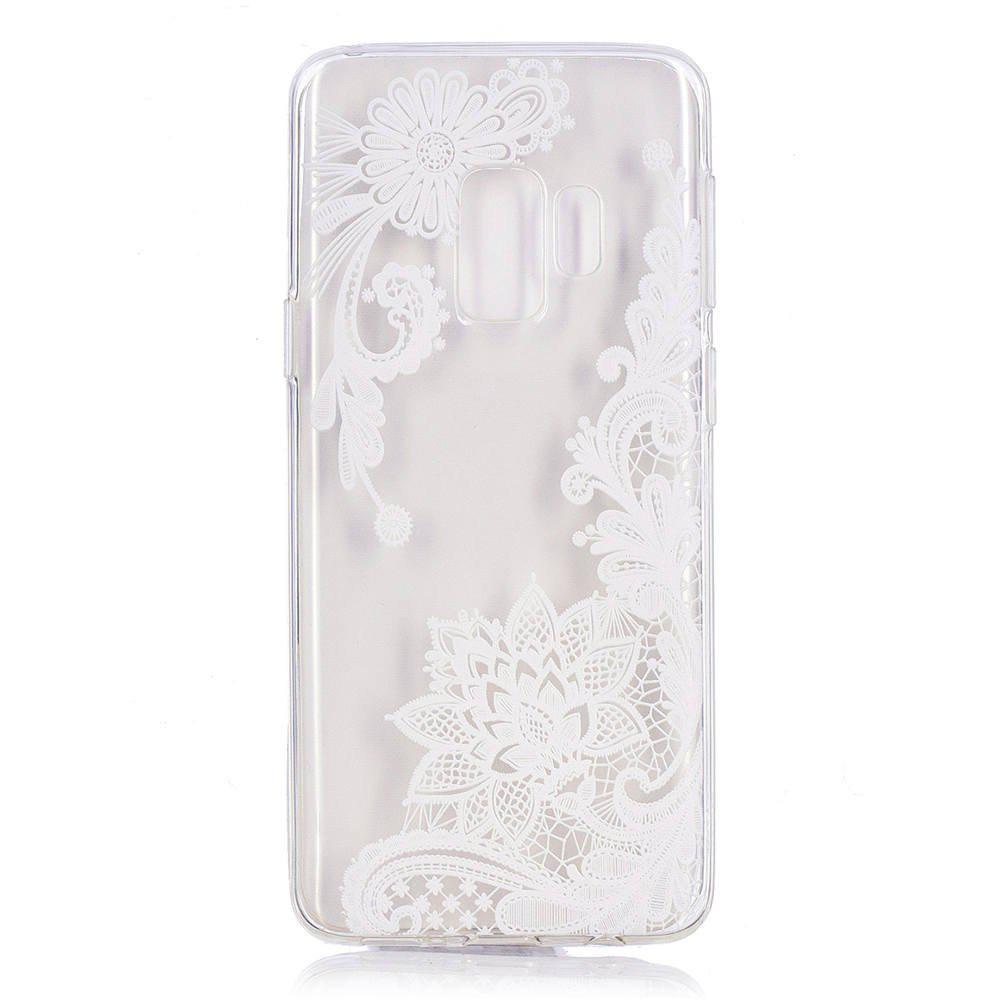 Buy TPU Material White Rose Pattern Painted Phone Case for Samsung Galaxy S9