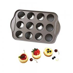 12 Hole Non Stick Cake Mold with Removable Bottom Muffin Cupcake Fondant Chocolate Egg Tart Metal Cheesecake Pan -