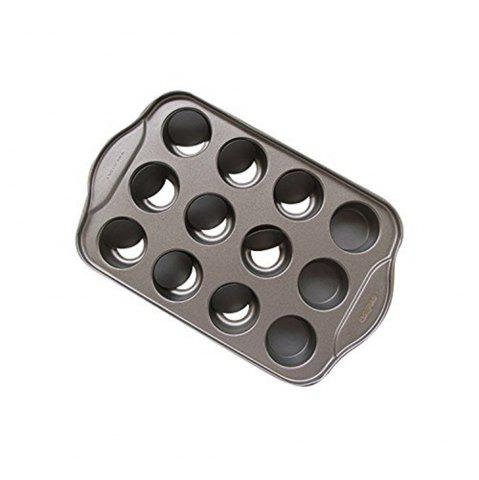 Trendy 12 Hole Non Stick Cake Mold with Removable Bottom Muffin Cupcake Fondant Chocolate Egg Tart Metal Cheesecake Pan