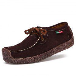 ZEACAVA Women's Leather Flat with Casual Peas Shoes -