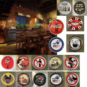 Vintage Style Beer Bottle Cover for Cafe Bar Restaurant Wall Decor Metal Art Poster -