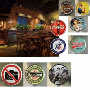 Retro Beer Bottle Cover Tin Metal Sign Poster for Cafe Bar Restaurant Wall Decor -