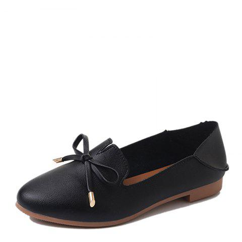 Trendy Single Ladies Fashion Shallow Mouth Flat Bow Two Shoes