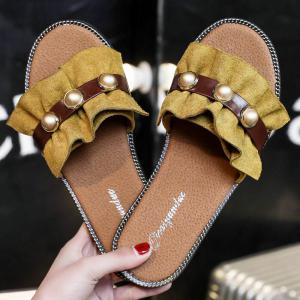 Flat Bottomed Flowers and Pearls Slippers -