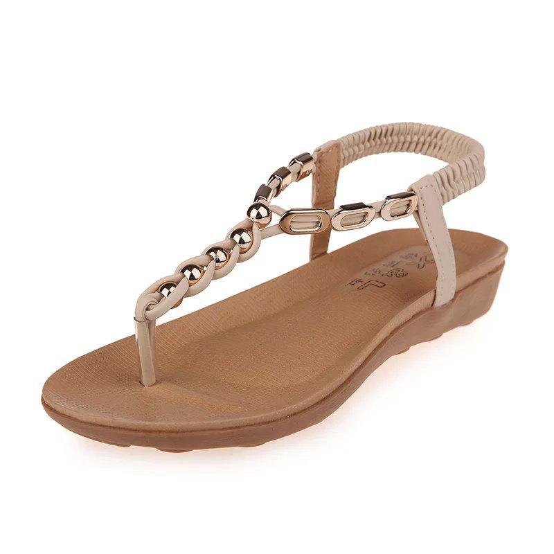 Chic Flat Bottom of Students' Sandals with Pinch Toe