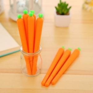 3PCS Cute Silicone Carrot Gel Pen Writing Signing Pen School Office Supply Student Stationery Kids Gift -