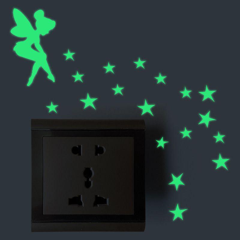 Outfits Fairy  Luminous Cartoon DIY Switch Wall Sticker Decoration Fluorescent Living Room Children Room Home Decor