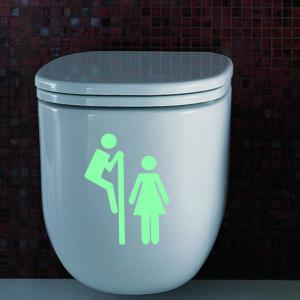 DSU Creative Toilet Sign Pattern Luminous Glow in the dark Removable Wall Decals Bathroom Waterproof Toilet Stickers -