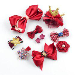 Children Hair Accessories Bow Tie 10 Pieces of Girls Jewelry Red Series -