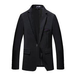 Man's Pure Color Long Sleeved Suit -
