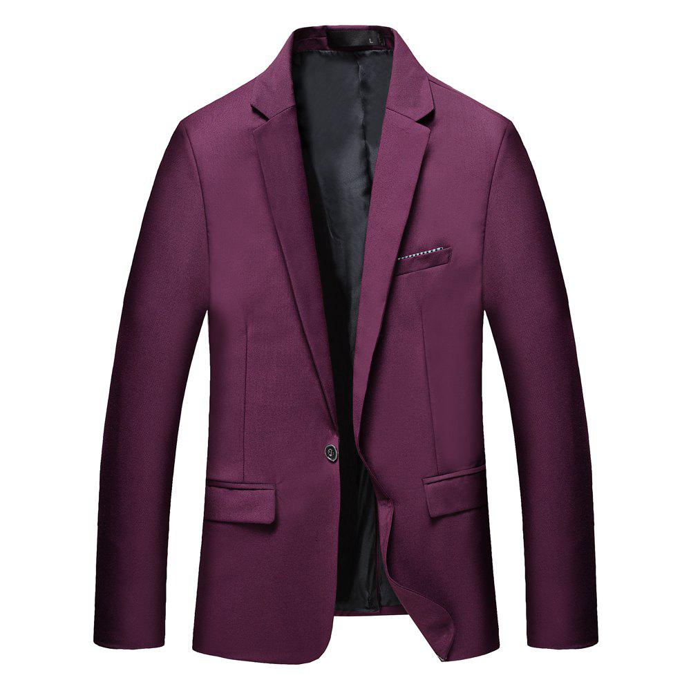 Trendy Man's Pure Color Long Sleeved Suit