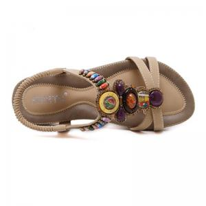 New Women Casual Bohemian Flat Beaded Sandals Beach Shoes -