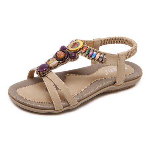 Fashion New Women Casual Bohemian Flat Beaded Sandals Beach Shoes