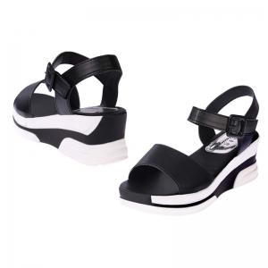 Women Summer Casual Flat Thick Sandals PU Leather Waterproof Shoes for Ladies -
