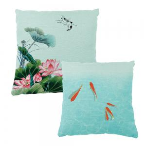 Summer Lotus Flower Small Fish Opera House Decoration Pillow Cover Car Sofa Cushion -