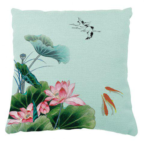 Latest Summer Lotus Flower Small Fish Opera House Decoration Pillow Cover Car Sofa Cushion