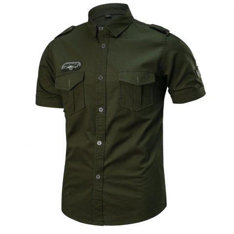 New 2018 Summer New Military Multi-Pocket Short-Sleeved Plus Size Men's Shirt