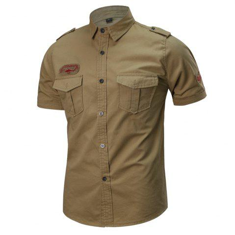 Unique 2018 Summer New Military Multi-Pocket Short-Sleeved Plus Size Men's Shirt