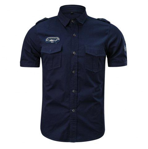 Shop 2018 Summer New Military Multi-Pocket Short-Sleeved Plus Size Men's Shirt