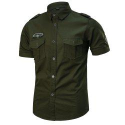 2018 Summer New Military Multi-Pocket Short-Sleeved Plus Size Men's Shirt -