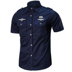 Men's Summer Short Sleeve  Military  Shirt -