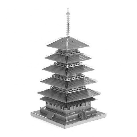 Discount Creative Five-story Pagoda 3D Metal High-quality DIY Laser Cut Puzzles Jigsaw Model Toy