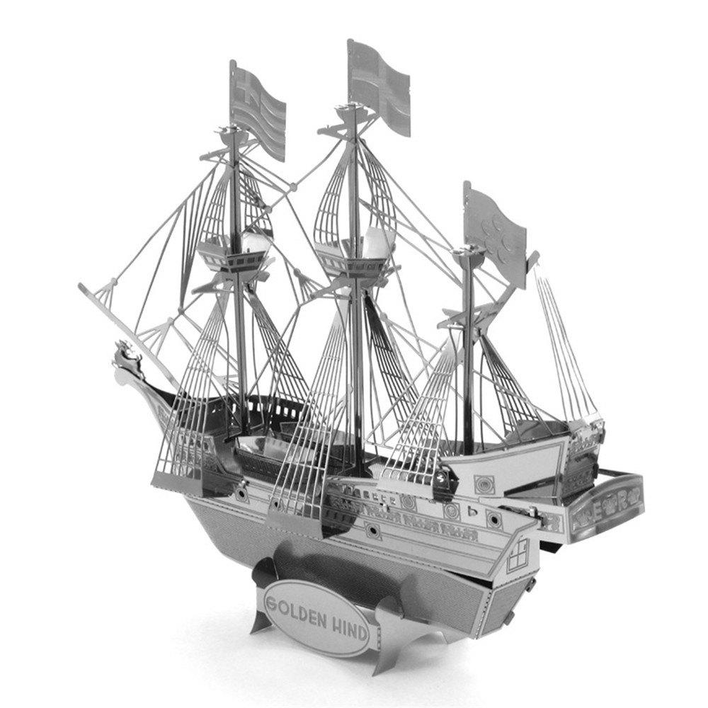 Latest Creative Golden Deer Pirate Ship 3D Metal High-quality DIY Laser Cut Puzzles Jigsaw Model Toy