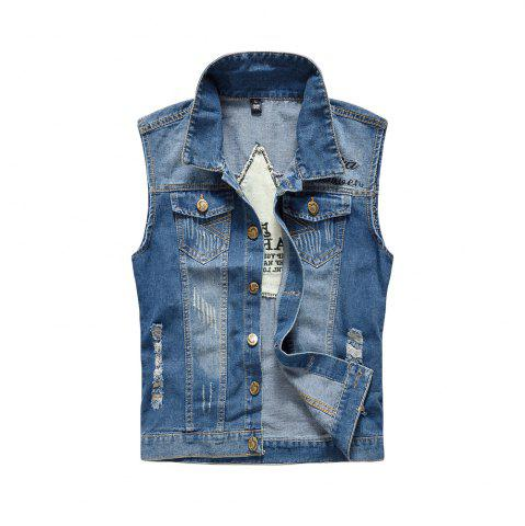 Cheap Men's Denim Fashion Cool Embroidery Patchwork Washed Vest