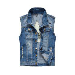 Men's Denim Fashion Cool Embroidery Patchwork Washed Vest -