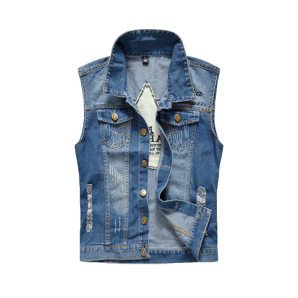 Fancy Men's Denim Fashion Cool Embroidery Patchwork Washed Vest