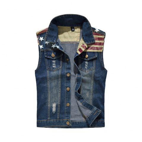 Trendy Men's Denim  Fashion Style Cool Flage Patchwork Hole Design Washed Vest