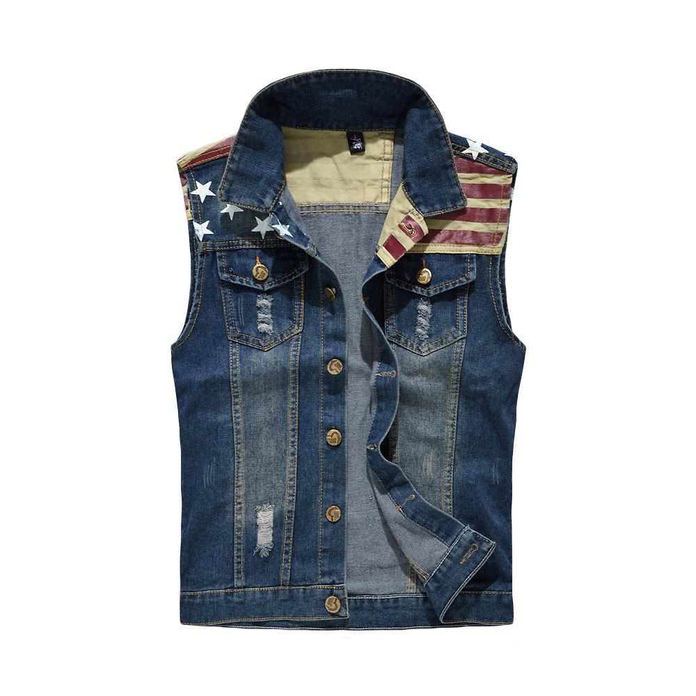 Sale Men's Denim  Fashion Style Cool Flage Patchwork Hole Design Washed Vest