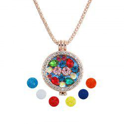 Stainless Steel Magnetic Floral Aromatherapy Pendant Necklace Essential Oil Diffusion -