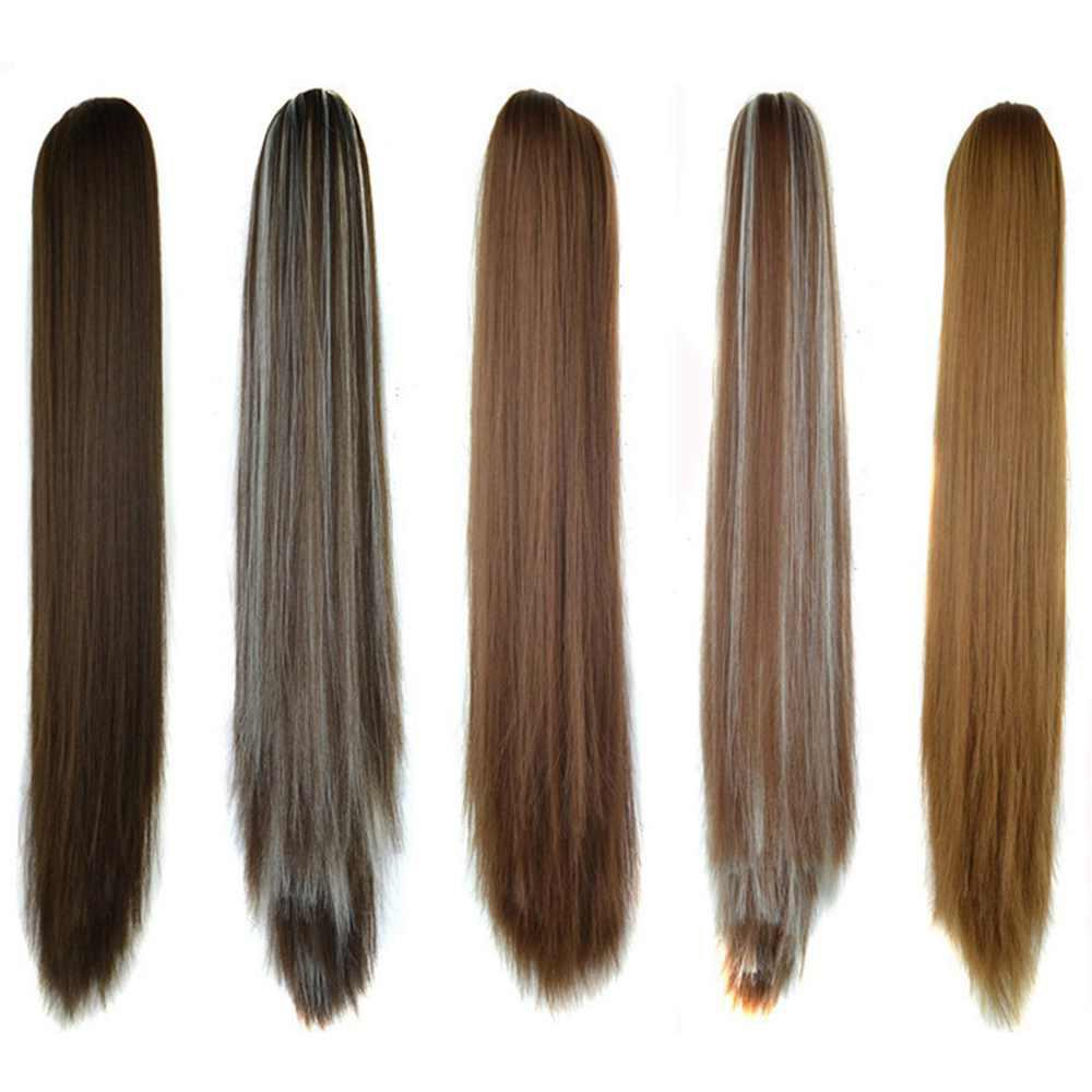 Trendy Long Straight  Heat Resistant Fibre Synthetic Claw Ponytail Clip in Hair Extensions