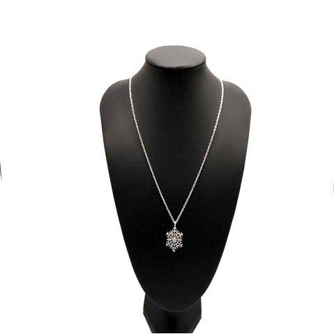 Fashion Exquisite Snowflake Diamond-Plated Silver Collarbone Necklace with Small Pendant