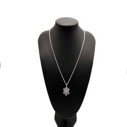 Exquisite Snowflake Diamond-Plated Silver Collarbone Necklace with Small Pendant - Silver