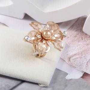 Temperament Multilayer Spring Transparent Flowers Opening Ring -