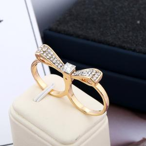 Double Refers To Bow for Women Fashion Color Preserving Gold Double Loop Ring -