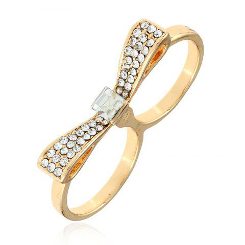 New Double Refers To Bow for Women Fashion Color Preserving Gold Double Loop Ring