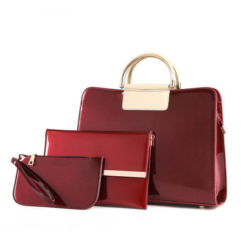 Fashion Bright Leather Female Briefcase Patent Mother Bag Three-piece Large-capacity Mot