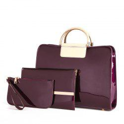 Bright Leather Female Briefcase Patent Mother Bag Three-piece Large-capacity Mot -