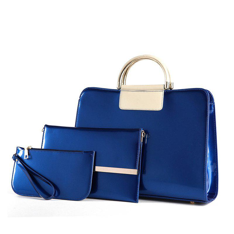 Cheap Bright Leather Female Briefcase Patent Mother Bag Three-piece Large-capacity Mot