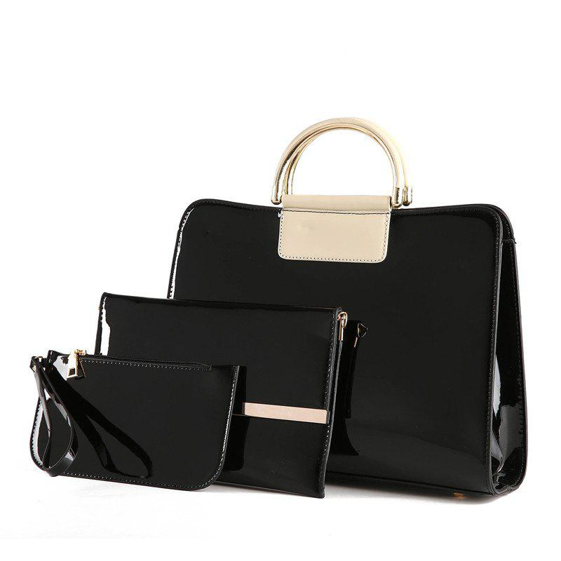 Buy Bright Leather Female Briefcase Patent Mother Bag Three-piece Large-capacity Mot