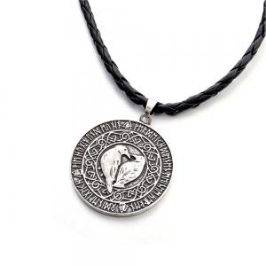 Viking Bird Amulet Pendant European and American New Men'S Leather Rope -