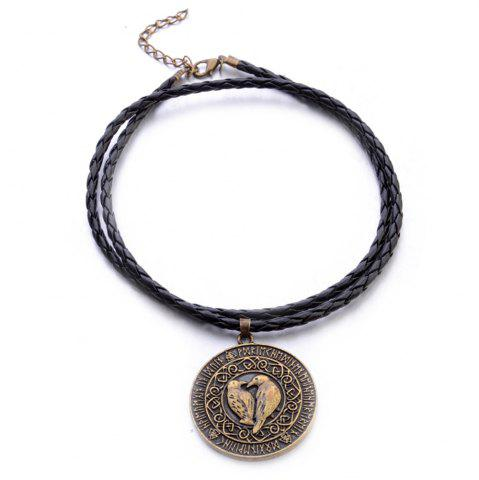 New Viking Bird Amulet Pendant European and American New Men'S Leather Rope