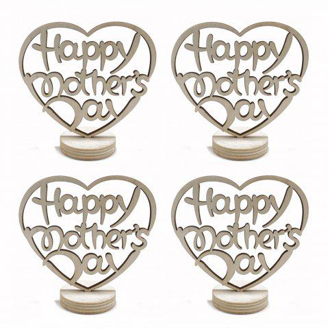 Fancy Happy Mother's Day Holidays Home Furnishing Wood Decoration Crafts 4pcs