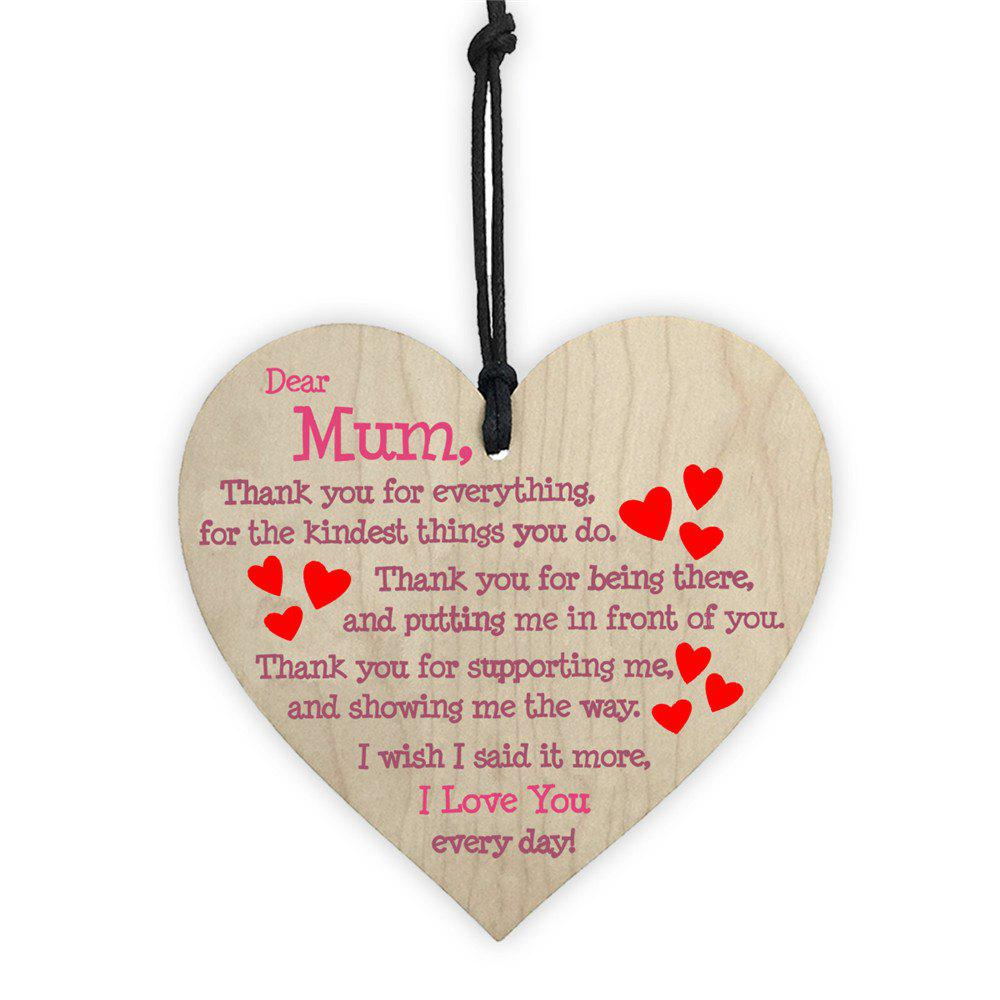 Shop Mother's Day Home Decoration Wooden Love Print DIY Color Painting Tag 1PC