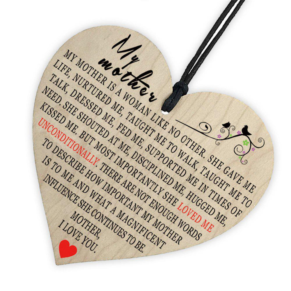 Outfit Mother'S Holiday Home Decoration, Creative Wooden Printing and Love Gift Tag