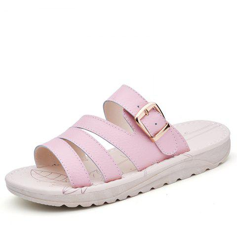 Sale New Lady Summer Real Leather Antiskid Flat Bottomed Beach Shoes